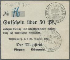 Deutschland - Notgeld - Ehemalige Ostgebiete: Rastenburg, Ostpreußen, Magistrat, 17 X 50 Pf., 7 X 1 - Allemagne