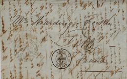 1851- Lettre De Sheffield ( Grande Bretagne Pour Lille - Taxe 8 D  Entrée ANGL / CALAIS Noir - 1849-1876: Klassik