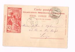 Entier Postal à 10 Centimes.Expédié De Zurich à Liège (Belgique) - Entiers Postaux