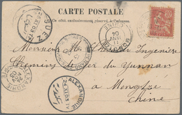 """China - Incoming Mail: 1903, French Levant Offices In Turkey O Mengtsz/Yunnan: 10 C. Tied """"CONSTANTI - China"""
