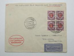 DANZIG , 75 Pfg. Aufdruck Im 4er- Block Als Mehrfachfrankatur Auf Zeppelinbrief , Michel Schon 1120,00 Euro - Danzig