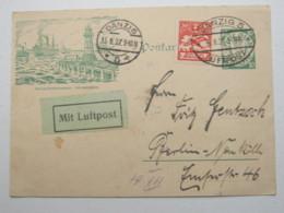 DANZIG , 10 Pfg. Bildganzsache ( P 38 II)  Mit Zusatzfrankatur Als Luftpostkarte, Sehr Selten 1927 - Danzig