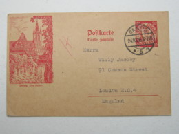 DANZIG , 20 Pfg. Bildganzsache 1926, Verschickt Aus Danzig Nach London , Sehr Selten - Danzig