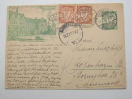 DANZIG , 10 Pfg. Bildganzsache 1927, Verschickt Aus Danzig Nach Dänemark , Sehr Selten - Danzig