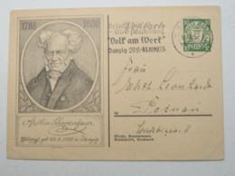 DANZIG , 10 Pfg. Bildganzsache Schopenhauer , Verschickt Mit Sonderstempel : Volk Am Werk, Sehr Selten - Danzig