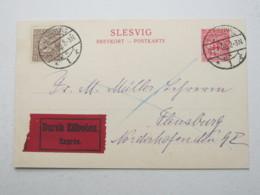 SCHLESWIG , 10 Pfg. Ganzsache Als Eilkarte - Deutschland