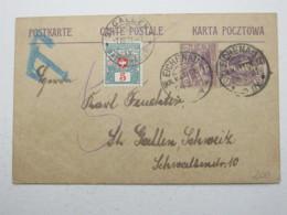 OBERSCHLESIEN , Ganzsache Aus EICHENAU Mit Nachportomarke In Die Schweiz - Deutschland