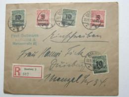 1923 , Einschreiben Mit 5 Werten Aus Hamburg Mit Ankunftstempel - Deutschland