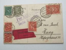 1922 , Eilbotenkarte Aus Grossschönau  Nach Niederlande , Seltenes Porto - Deutschland