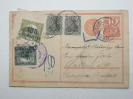 1923 , Ganzsache Aus Dinkelsbühl In Die CSSR , Nachportomarken - Lettres & Documents
