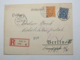 1922 , Orts- Einschreib - Drucksache Aus Berlin , Recht Selten - Lettres & Documents