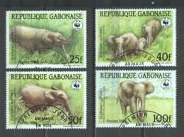 Gabon 1988 Mi 1009-1012 WWF ELEPHANTS - W.W.F.