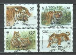 Russia 1993 Mi 343-346 WWF TIGERS - W.W.F.