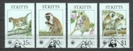 St Kitts 1986 Mi 184-187 WWF MONKEYS - W.W.F.