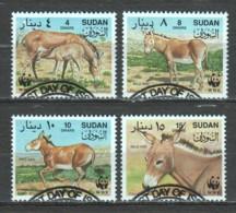 Sudan 1994 Mi 471-474 WWF DONKEYS - W.W.F.