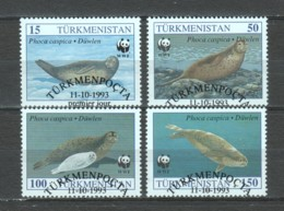 Turkmenistan 1993 Mi 30-32-33-34 WWF SEALS - W.W.F.