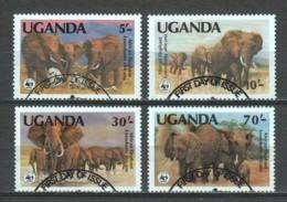Uganda 1991 Mi 960-963 WWF ELEPHANTS - W.W.F.