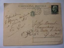 """Cartolina Postale Viaggiata """"CON RISPOSTA PAGATA""""  Napoli 1933 - 1900-44 Vittorio Emanuele III"""
