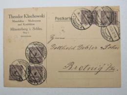 1923 ,  1 Mrd. Mk. Als Seltene Mehrfachfrankatur Auf Firmenkarte Aus Münsterberg In Schlesien - Deutschland