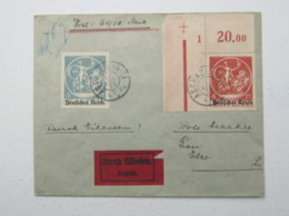 1920 , 4 M. Bayernabschied , Eckrandstück Mit Bogennummer Auf Eilbrief Aus Aschau , Rs. Ankunftstempel , Selten - Lettres & Documents