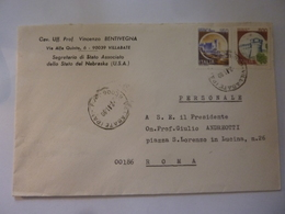 """Busta Viaggiata Per Giulio Andreotti """"Vincenzo Bentivegna SEGRETARIO DI STATO ASSOCIATO NEBRASKA"""" 1990 - 6. 1946-.. Republic"""
