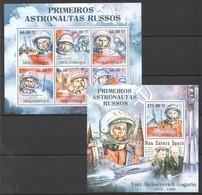E010 2011 MOZAMBIQUE MOCAMBIQUE SPACE PRIMEIROS ASTRONAUTAS RUSSOS GAGARIN 1SH+1BL MNH - Space