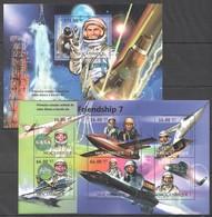 E011 2012 MOZAMBIQUE MOCAMBIQUE SPACE FRIENDSHIP 7 1SH+1BL MNH - Space