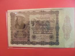 Reichsbanknote 50.000 MARK 1922 VARIETE N°1 - [ 3] 1918-1933 : République De Weimar