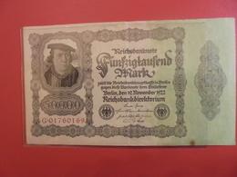 Reichsbanknote 50.000 MARK 1922 VARIETE N°2 - [ 3] 1918-1933 : République De Weimar