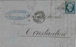 1861- Lettre De Phillipeville / Constantine  Affr. N°14 Oblit. P C 3734 - 1849-1876: Klassik