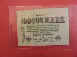 Reichsbanknote 100.000 MARK 1923 - [ 3] 1918-1933 : République De Weimar