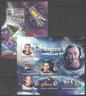 E022 2012 MOZAMBIQUE MOCAMBIQUE SPACE APOLLO 17 1SH+1BL MNH - Space