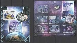 E023 2012 MOZAMBIQUE MOCAMBIQUE SPACE 50TH ANNIVERSARY LAUNCHING ALOUETTE 1 1KB+1BL MNH - Space