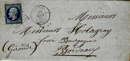 1860- Lettre De Guelma / Algérie  Affr. N°14 Oblit. P C 3756 - 1849-1876: Klassik