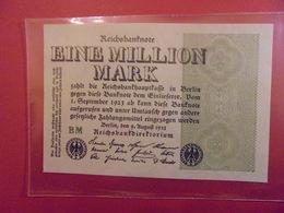 Reichsbanknote 1 MILLION MARK 1923 VARIETE N°2 - [ 3] 1918-1933 : République De Weimar
