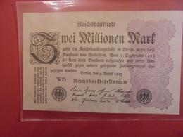 Reichsbanknote 2 MILLIONEN MARK 1923 VARIETE N°2 - [ 3] 1918-1933 : République De Weimar