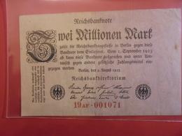Reichsbanknote 2 MILLIONEN MARK 1923 VARIETE N°3 - [ 3] 1918-1933 : République De Weimar