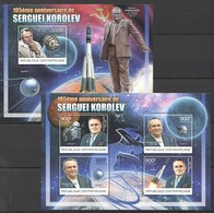E033 2012 CENTRAL AFRICA CENTRAFRICAINE SPACE FAMOUS PEOPLE SERGUEI KOROLEV 1KB+1BL MNH - Space