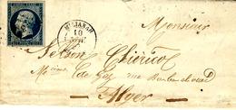 1857- Lettre De MILLIANAH  / Algérie  Affr. N°14 Oblit. P C 3729 - 1849-1876: Klassik