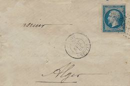 1862- Enveloppe De DELLYS / Algérie  Affr. N°14 Oblit. P C 3722 - 1849-1876: Klassik