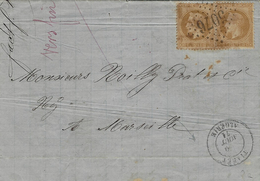 1871- Lettre De TIARET / Algérie  Affr. Paire N°21 Oblit. G C 5076 - 1849-1876: Klassik
