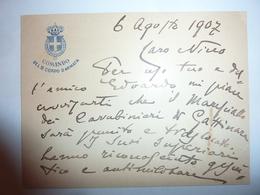 """Busta Viaggiata  Per Il  """"Tenente Colonnello Emilio Montasini 1° Aiutante Di Campo Di S.A.R. Il Duca D'Aosta""""  1907 - 1900-44 Vittorio Emanuele III"""