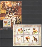 E035 2005 GUINE-BISSAU PETS DOGS & CATS GATOS E CAES 1KB+1BL MNH - Domestic Cats