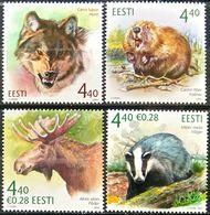 Estonia, 2004-07, Mi. 479, 504, 542, 579, Sc. 482, 503, 534, 565, Animals, Wolf, Castor Fiber, Beaver, Elk, Badger, MNH - Stamps
