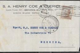 STORIA POSTALE REGNO - CARTOLINA INTESTATA 21.05.1926 PER MESSINA - 1900-44 Vittorio Emanuele III