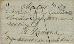 1809- Lettre De 54 / L'ORIENT  ( Morbihan ) 35 X 9 1/2 Mm Noir Pour Vannes - Marcophilie (Lettres)