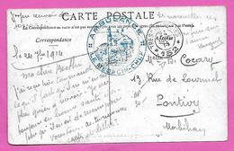 Carte Postale En Franchise Cachet AMBULANCE Le Medecin Chef + TRESOR Et POSTES * 152 *  1914 Pour PONTIVY - Marcophilie (Lettres)