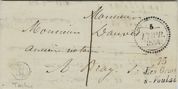1854- Lettre En Port Du Avec Cursive 73 / Les Ormes / S-Voulzie ( S & M ) Taxe 1 D Pour Bray - 1849-1876: Klassik