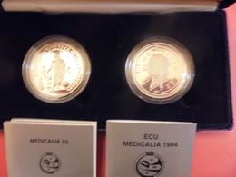 """BELGIQUE (MONNAIE ROYALE) SET DE 2 ECU ARGENT(925) QUALITE """"PROOF"""" 1993+94 """"MEDICALIA"""" - Belgium"""