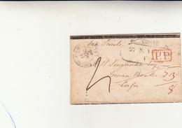 Boulogne Sur Mer To Corfù, Ionian Islands. Cover In Transito Per Trieste Con PP In Rosso 1856 - France